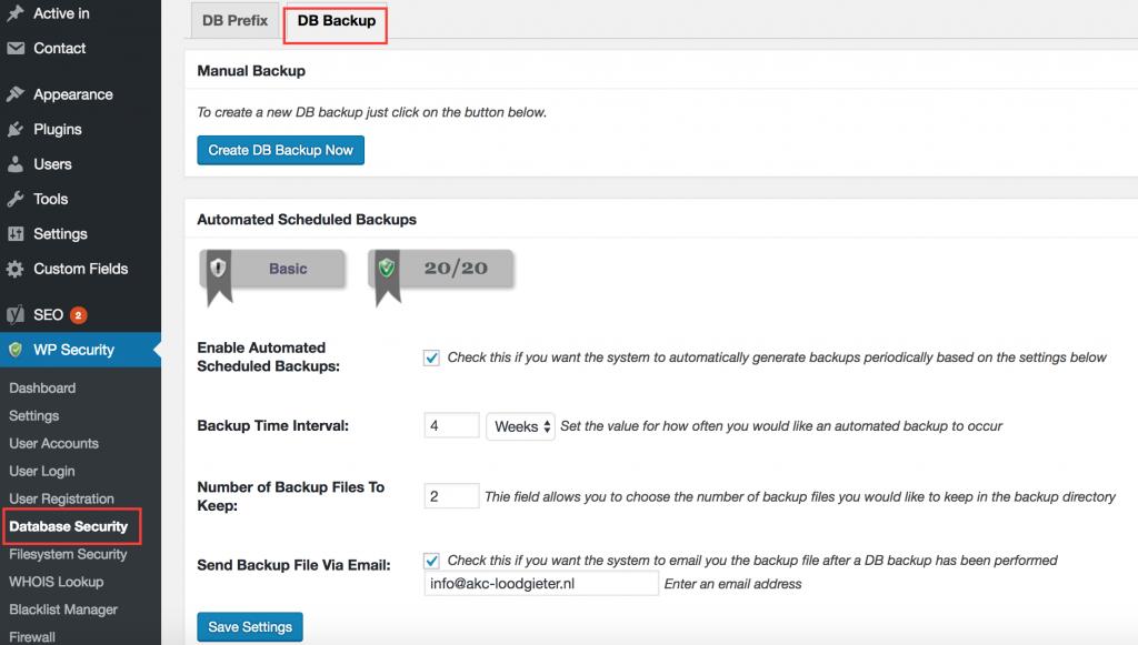 Backups maken in WordPress plugin over beveiliging