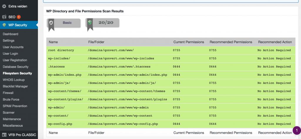 File permissies instellen in WordPress security