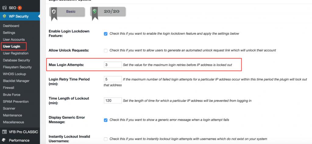 Limiteer loginpogingen in WordPress security pluging