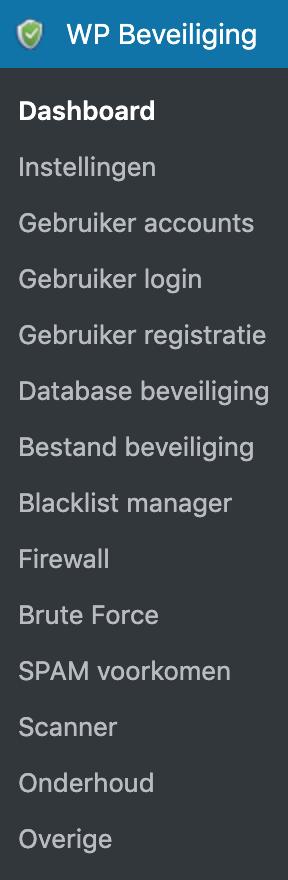 Wordpress Security Plugin Beveiliging opties