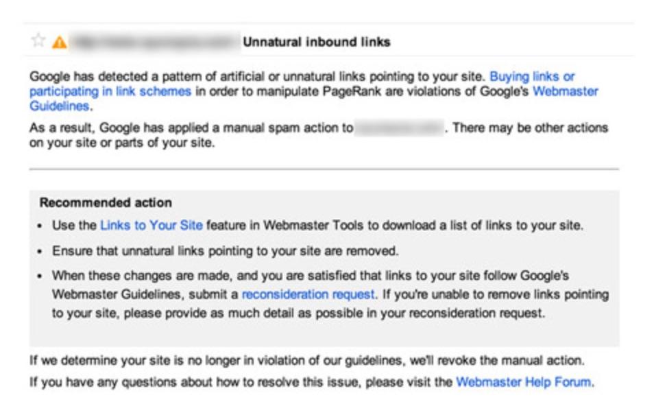 Linkpenalty van Google oplossen