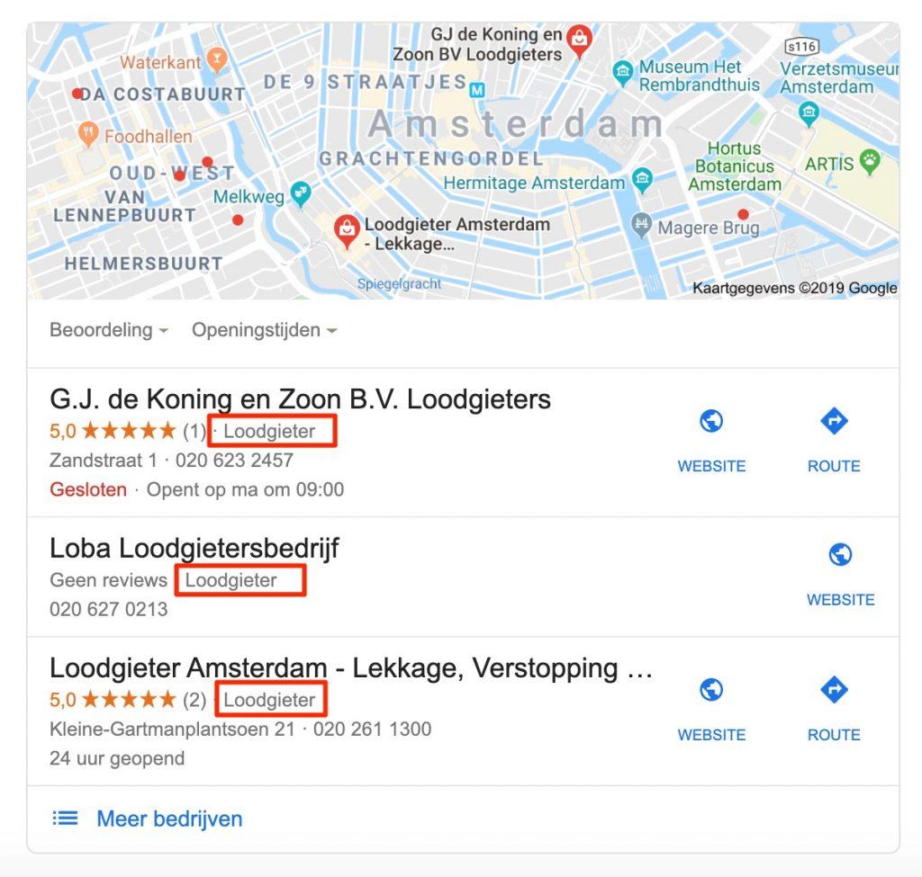Categorie concurrent vinden Google Maps