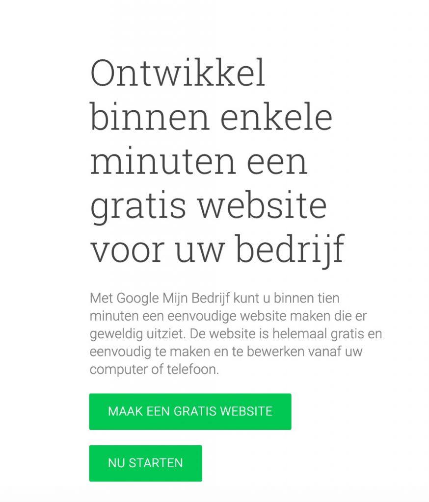 Gratis website bij Google Mijn Bedrijf