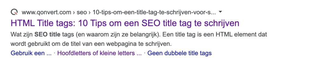 Voorbeeld SEO title tag