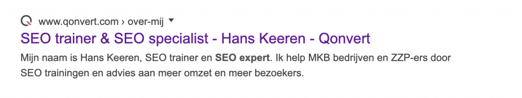 Title tag seo specialist pagina