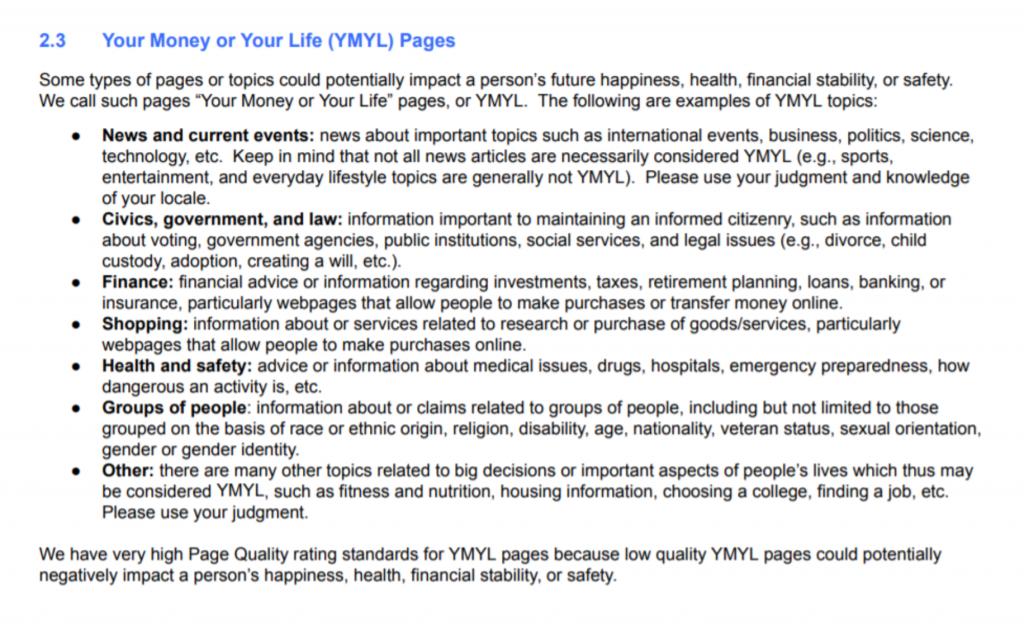 Voorbeelden YMYL websites door Google